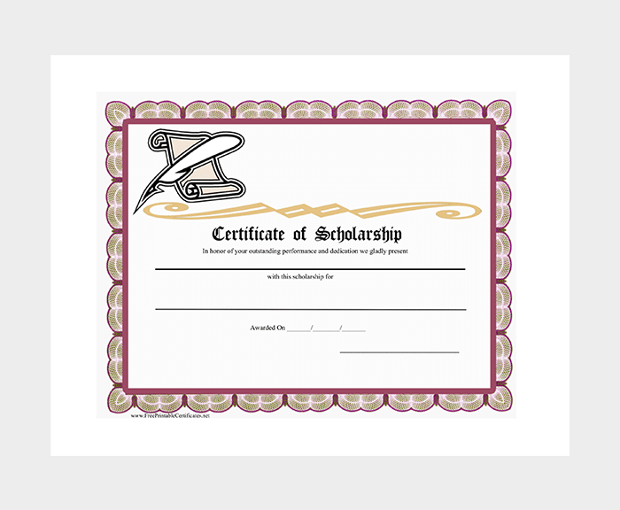 Scholarship Certificate Template - 7+ (Free Editable For Regarding Scholarship Certificate Template