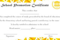 School Promotion Certificate Template In 2020 | Certificate inside Unique Certificate Of School Promotion 10 Template Ideas