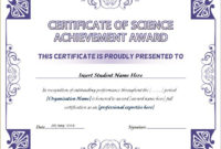 Science Achievement Award Certificates | Word & Excel Templates intended for Science Achievement Award Certificate Templates
