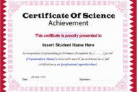 Science Achievement Award Certificates | Word & Excel Templates pertaining to Science Achievement Award Certificate Templates