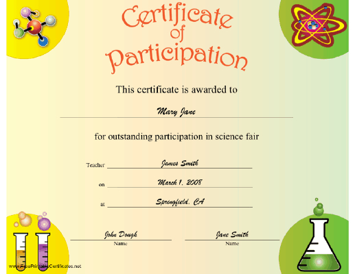 Science Participation Certificate Printable Certificate Inside Fresh Science Fair Certificate Templates