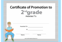 Second Grade Promotion Certificate Template Download inside Best Grade Promotion Certificate Template Printable