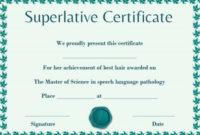 Senior Superlative Certificate Template | Certificate inside Superlative Certificate Template