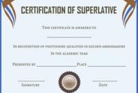 Senior Superlative Certificate Templates | Certificate in Unique Superlative Certificate Template