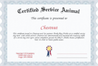 Service Dog Certificate Template (4) | Professional with regard to Service Dog Certificate Template
