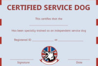 Service Dog Training Certificate Templates | Certificate intended for Best Dog Training Certificate Template Free 10 Best