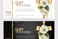 Set Of Luxury Gift Voucher With A Gold Bow, Ribbon And inside Beauty Salon Gift Certificate