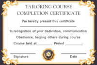 Sewing Certificate Template: 10 Templates Designed For throughout Best Dog Training Certificate Template Free 10 Best