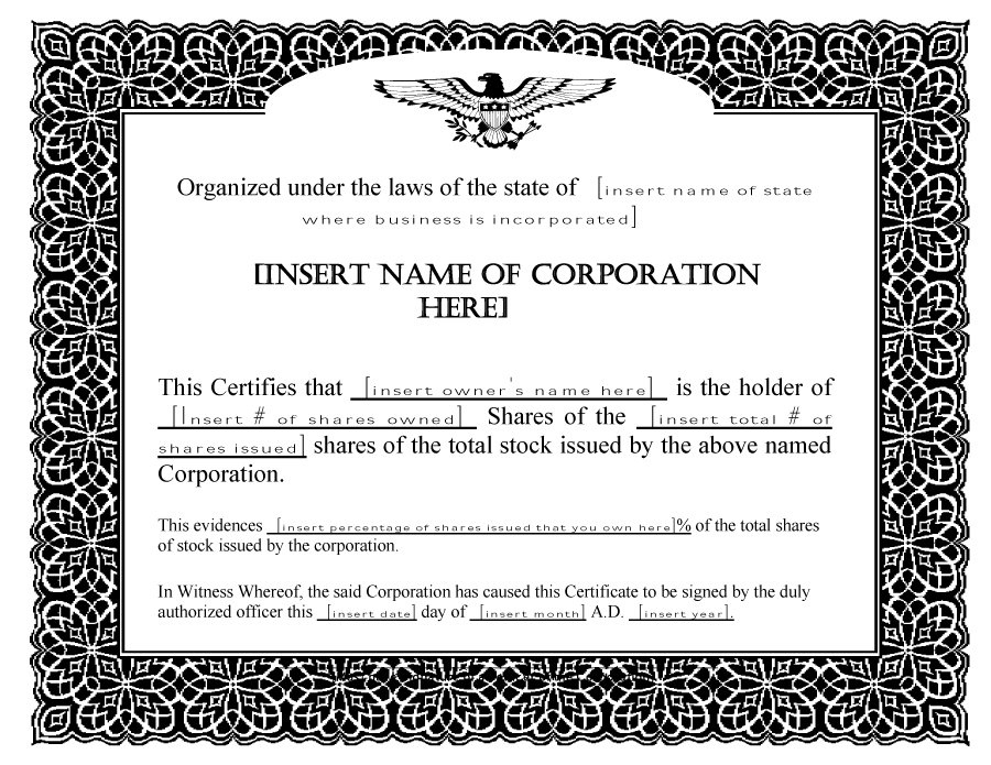 Share Certificate Templates | Certificate Template Downloads Intended For Unique Editable Stock Certificate Template