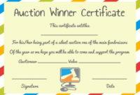 Silent Auction Winner Certificate Template: Explore Best in Fresh Silent Auction Certificate Template 10 Designs 2019