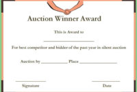 Silent Auction Winner Certificate Templates | Certificate intended for Donation Certificate Template Free 14 Awards