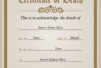 Simple Vertical Death Certificate Template In Potters Clay pertaining to Best Death Certificate Template