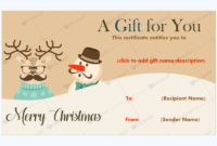 Snowman & Reindeer Christmas Gift Certificate Template throughout Unique Christmas Gift Certificate Template Free