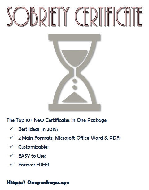 Sobriety Certificate Template Free | Certificate Templates with Sobriety Certificate Template 10 Fresh Ideas Free