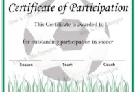 Soccer Certificate Of Participation – Now Fillable Pdf pertaining to Best Coach Certificate Template Free 9 Designs