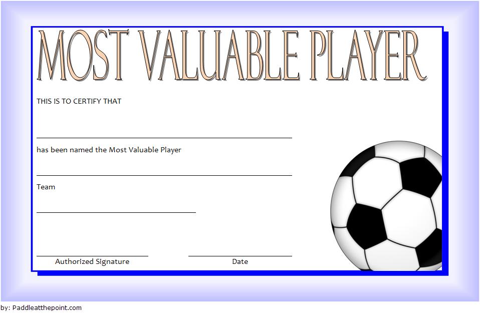Soccer Mvp Certificate Template Free 6 In 2020   Certificate Within Soccer Mvp Certificate Template