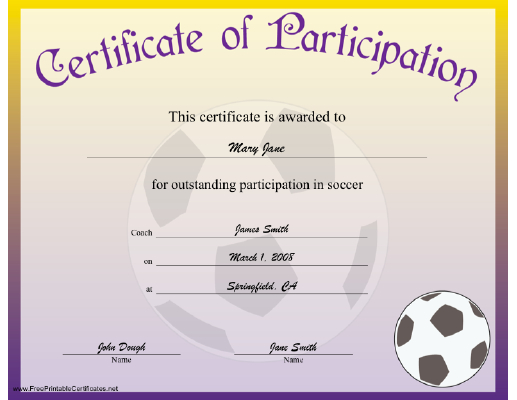 Soccer Participation Certificate Printable Certificate inside Fresh Soccer Certificate Template Free 21 Ideas