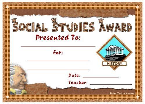 Social Studies Award Certificates | Social Studies Awards pertaining to Unique Social Studies Certificate