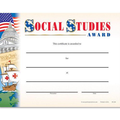 Social Studies Award Gold Foil Stamped Certificates - Pack Of 25 In Unique Social Studies Certificate