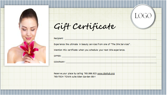 Spa Gift Certificate Template For Ms Word | Document Hub Regarding Best Free Spa Gift Certificate Templates For Word