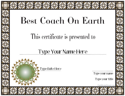 Special Certificates - Best Coach Ever | Certificatestreet Intended For Best Coach Certificate Template