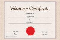 Special Certificates – Volunteer Certificate Template regarding Volunteer Certificate Templates