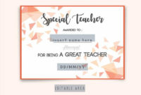 Special Teacher Award Certificate Template Editable In Word, Special  Appreciation Gift For Best Teacher Award, Thank You Teacher Certificate intended for Fresh Best Teacher Certificate Templates