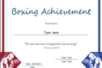 Sports Certificate – Boxing Achievement – Award inside Unique Boxing Certificate Template