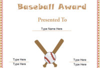 Sports Certificates – Free Baseball Certificate Template for Best Baseball Award Certificate Template