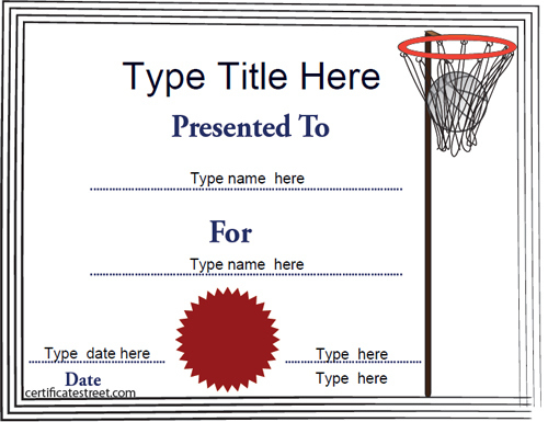 Sports Certificates - Netball Tempalate | Certificatestreet In Fresh Netball Participation Certificate Templates