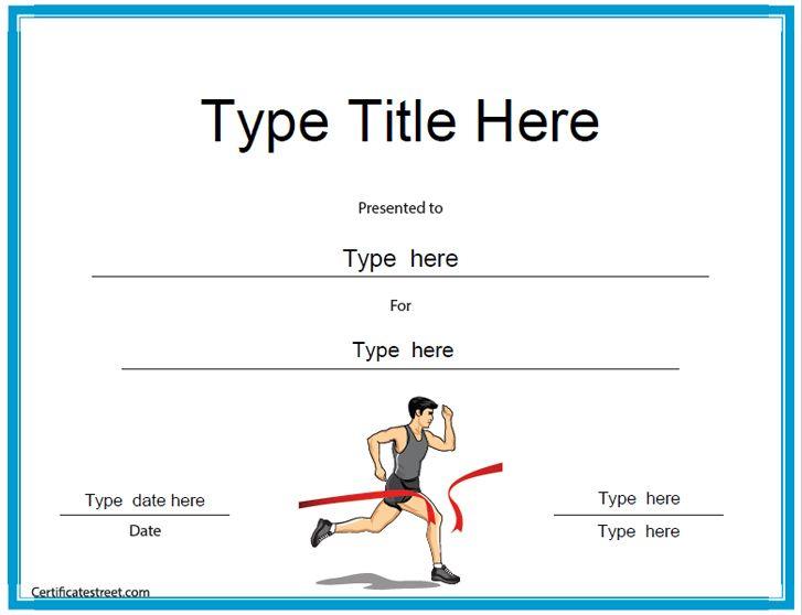 Sports Certificates - Running Award Certificate Template with Running Certificate Templates