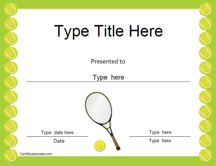 Sports Certificates - Tennis Award Certificate | Tennis for Tennis Achievement Certificate Template
