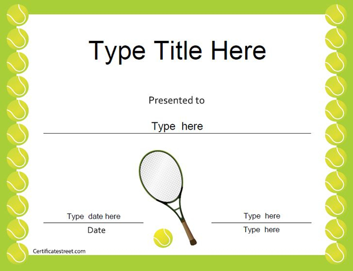 Sports Certificates - Tennis Award Certificate | Tennis In Tennis Tournament Certificate Templates