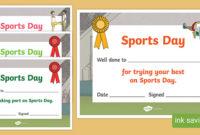 Sports Day Certificate Template (Teacher Made) throughout Sports Day Certificate Templates