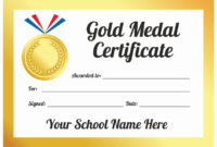 Sports Day Gold Medal Certificates inside Sports Day Certificate Templates