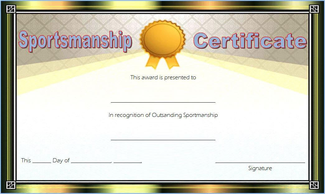Star Sportsmanship Certificate Template Free 5 In 2020 Inside Fresh Sportsmanship Certificate Template