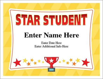 Star Student Certificate - Free Award Certificates Inside Star Student Certificate Template