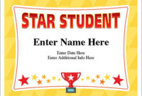 Star Student Certificate – Free Award Certificates inside Unique Star Student Certificate Templates
