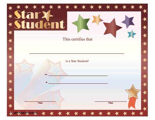 Star Student Certificate Printable Certificate   Student Intended For Star Student Certificate Template