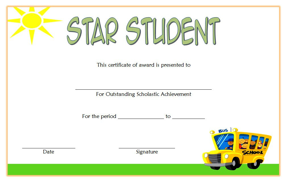 Star Student Certificate Template Free 4 | Student For Student Council Certificate Template 8 Ideas Free
