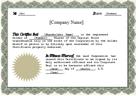 Stock Certificate Template Word (1) | Professional Templates Inside Best Ownership Certificate Templates