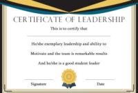 Student Leadership Certificate: 10+ Best Student Leadership pertaining to Best Student Leadership Certificate Template