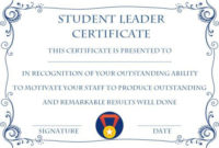 Student Leadership Certificate: 10+ Best Student Leadership regarding Leadership Award Certificate Template