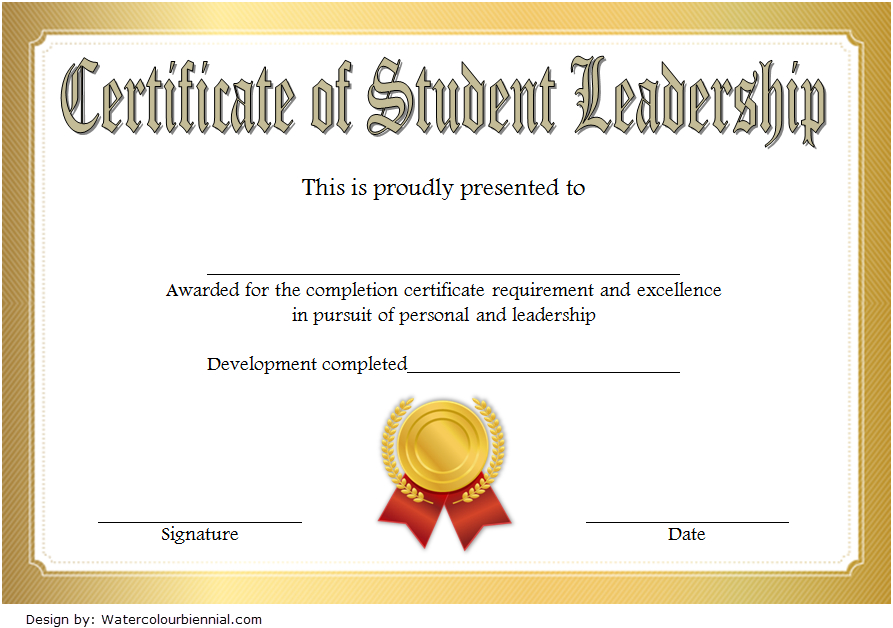 Student Leadership Certificate Template 7 Free | Student With Leadership Certificate Template Designs