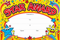 Student Of The Day Certificate Beautiful Star Award Award throughout Best Player Of The Day Certificate Template Free