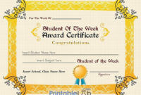 Student Of The Week Award Certificate Template In Cream regarding Unique Student Of The Week Certificate
