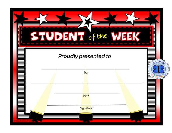 Student Of The Week Certificate, Editable Pdf Student Of The Week Award,  Certificates, Printables, Classroom Certificates In Student Of The Week Certificate