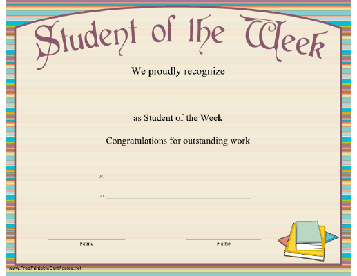 Student Of The Week Certificate Printable Certificate Pertaining To Student Of The Week Certificate Templates