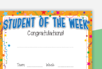 Student Of The Week Certificate regarding Unique Student Of The Week Certificate
