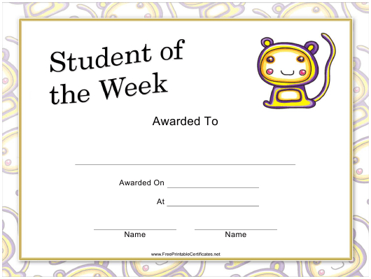 Student Of The Week Certificate Template Download Printable Inside Best Student Of The Week Certificate Templates